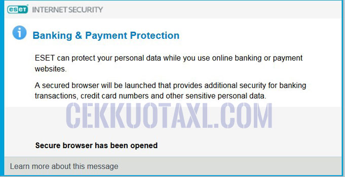 BCA net banking ESET antivirus