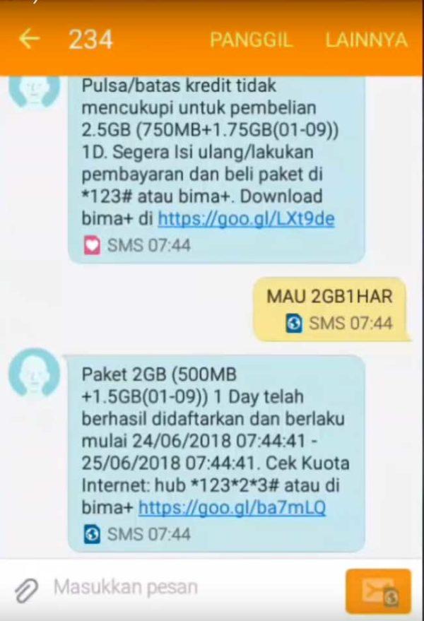 Cara Paket Internet Tri 3