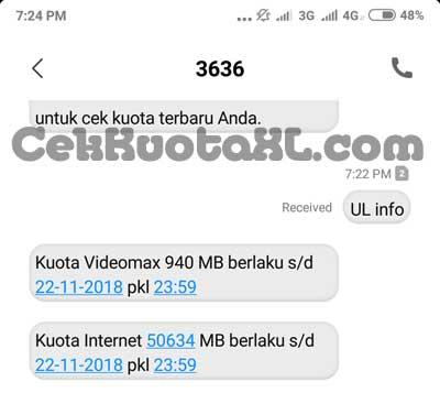 Cek Kuota Internet Melalui SMS UL