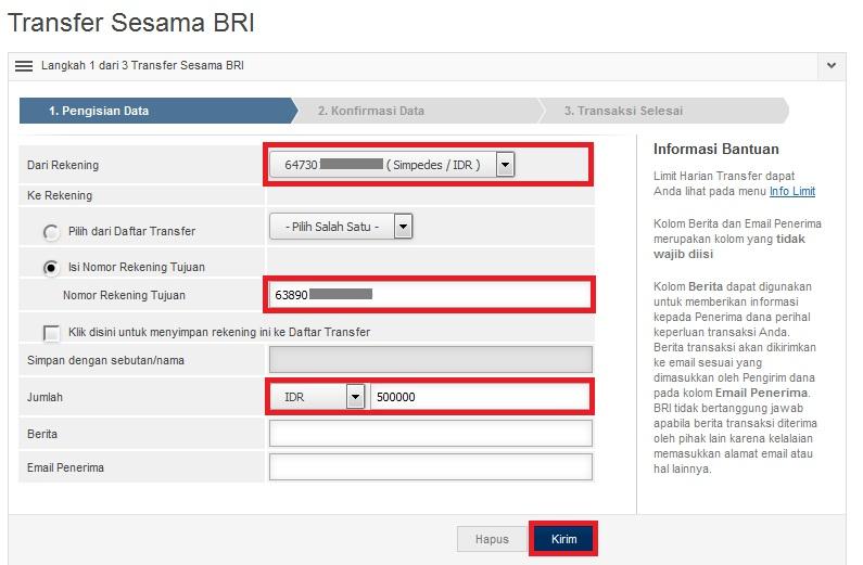 cara daftar internet banking BRI_transfer uang