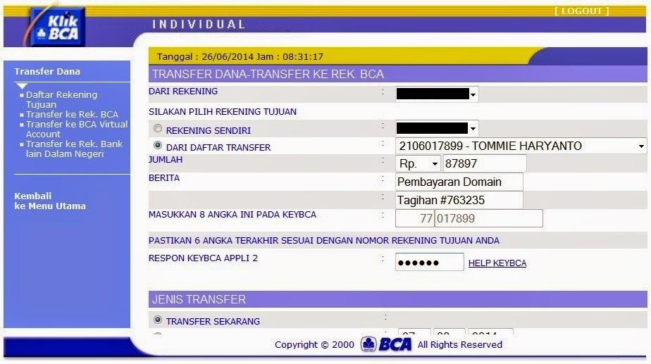 cara daftar internet banking bca_transfer dana