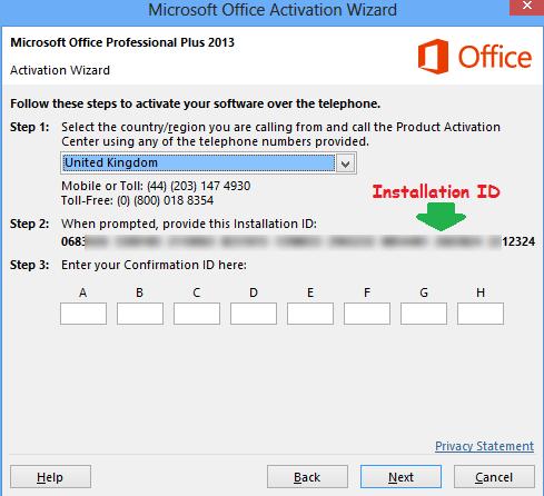 Aktivasi Microsoft Office 2013 pilih negara