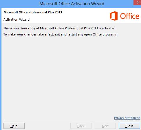 Aktivasi Microsoft Office 2013 selesai