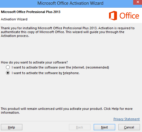 Aktivasi Microsoft Office 2013 via telephone