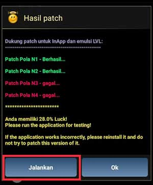 hasil patch lucky patcher