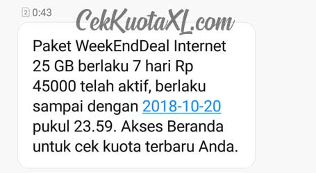 Weekend Deal Paket Data 25GB